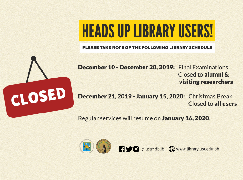 Library Schedule Finals and Christmas Break